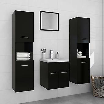 vidaXL meuble de salle de bain set de panneau de particules noir