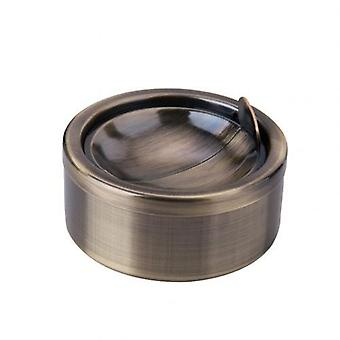 Home Stainless Steel Windproof Round Shape Smokeless Ashtray Rotation With Lid Ash Tray Holder