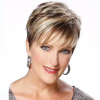 Vinklig bang kort rak peruk för kvinnor (brun)