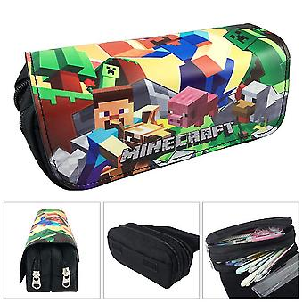 Minecraft Enfant double couche étui crayon avec grande capacité(Couleur-3)
