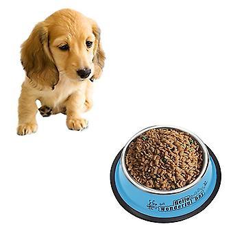 Tazones de fuente del acero inoxidable, Anti-slip Colorido Paint Printed Pets Bowls, Diámetro del tazón: 25.5 cm, Tazón de fuente