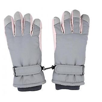 כפפות סקי נשים חמות וחמודות רכיבה בחוץ רכיבה על אופנוע עמיד לרוח וקר (אפור)