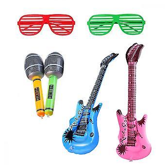 Inflatable Rock Toy, 6pcs Saxophone Microphone Glasses Instrument Decoration Props