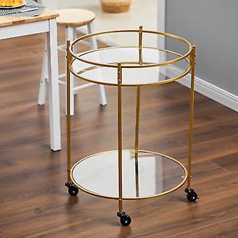 Gold Drinks Kitchen Trolley 2 niveaux sur roues
