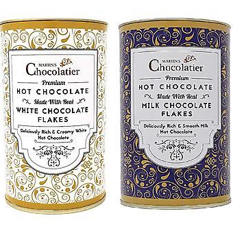 Martin's Chocolatier Hot Chocolate Flakes   2 Pack   Milk Chocolate & White Chocolate   Made with Crushed Belgian Chocolate Flakes   Luxury Drinking Chocolate