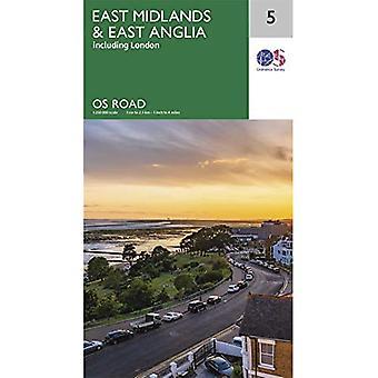 East Midlands & East Anglia (OS Wegenkaart)