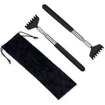 2 Pack Portable Extendable Back Scratcher, Stainless Steel ,black