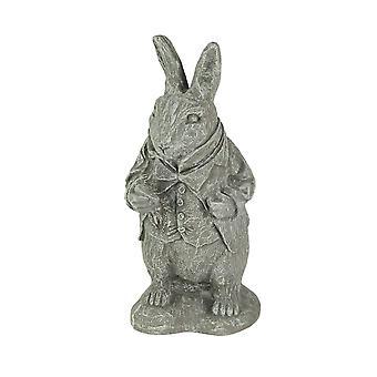 Alice in Wonderland White Rabbit Light Gray Finish Statue 14 in-CEMENT
