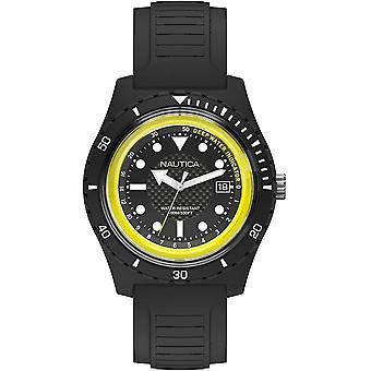 Relógio masculino de silicone preto nautica NAPIBZ001