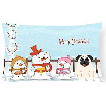 Pillows merry christmas carolers pug cream canvas fabric decorative pillow