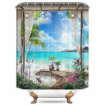 Shower curtains beach printed shower curtain sea scenery screen waterproof bathroom curtains non slip 120*180cm
