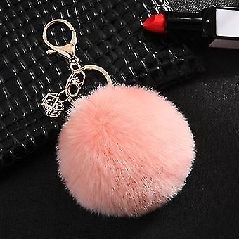 Flauschige und weiche nordische Stil Kaninchen Pompon Trinket Schlüsselanhänger (Korea Pink)