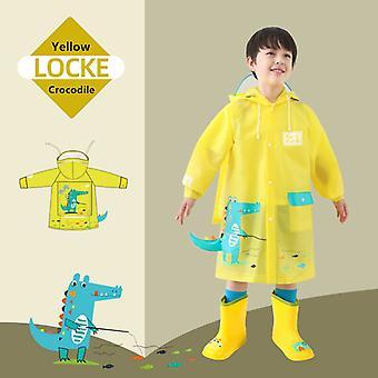 Kinder Dinosaurier Regenmäntel, Regenmäntel, Windjacken, Umhänge für Jungen und Mädchen-gelb