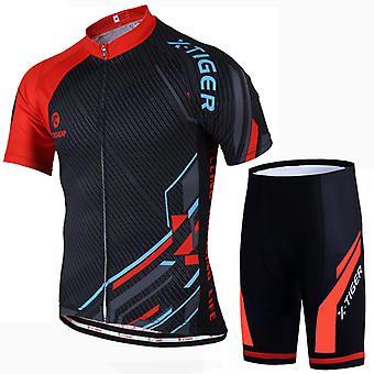 X-tiger ademende en zweetbestendige tweedelige fietsset voor mannen