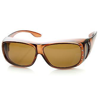 Womens große polarisierte Linse Cover Wrap Sonnenbrillen mit Seite Objektiv