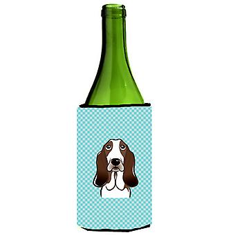 Checkerboard Blue Basset Hound Wine Bottle Beverage Insulator Hugger