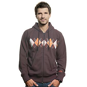 Mens Argyle Zip Hooded Sweater // Brown 70% cotton/30% polyester