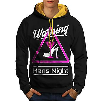 Warning Night Men Black (Gold Hood)Contrast Hoodie | Wellcoda