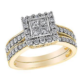 Princess Cut Diamond Engagement Ring & Wedding Band Set 1.0 Carat (ctw) in 14K Yellow Gold