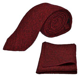 Żurawinowy jodełkę czerwony idealna czarny krawat & placu kieszeni zestaw