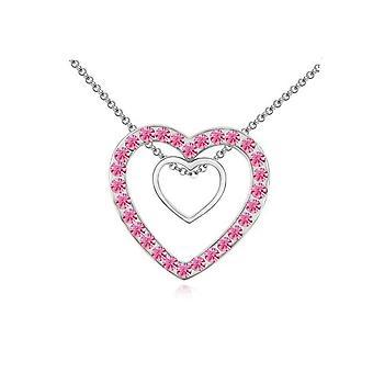 Dubbla Silver två hjärtan hänge Crystal rosa stenar halsband BG1645