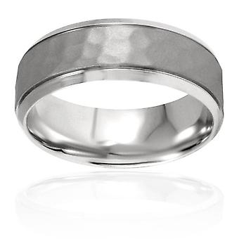 8 mm hamret skrå bryllup Band 14K hvidguld