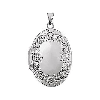925 Sterling Silver Oval Formad Foto Locket Hängande Halsband 25.75x19.25mm smycken gåvor för kvinnor