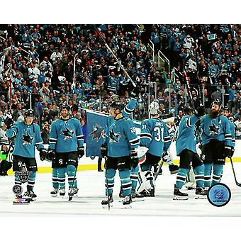 San Jose Sharks 2017-18 Playoff celebracja Photo Print