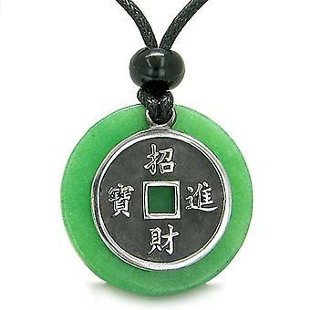 Amulet heldig mynt sjarm MedalliJade beskyttelse krefter Antiqued anheng ecklace