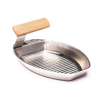 2 set vegetable Grill Pan stainless steel with slits and Removable wooden handle