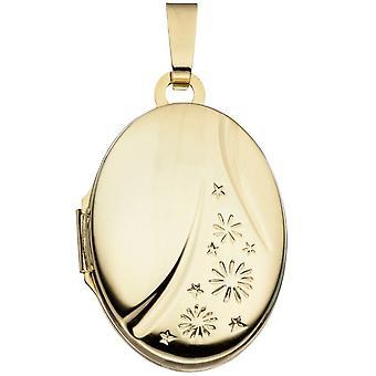 Medallón de oro colgante de oro amarillo colgante oval 585 de medallón de oro