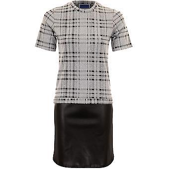 Dames korte mouw Smart Office Check Shift PVC rok Block Panel Hem jurk