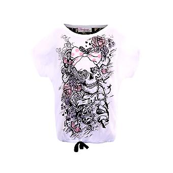 Barnens Skull Rose Print Glitter Lace Back Party Casual Girls Top T-shirt