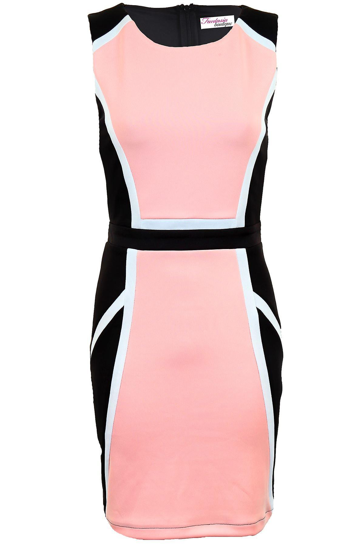 Ladies Sleeveless Black Contrast Panel Women's Bodycon Evening Smart Dress