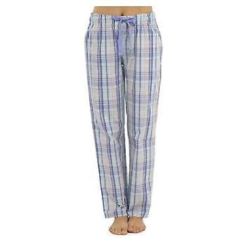 Womens Plaid Check Polycotton verão pijama calça fundos salão desgaste calças