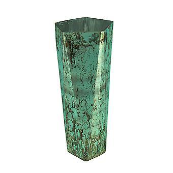 Mottled Aqua Blue Glass Vase 18 Inches Tall