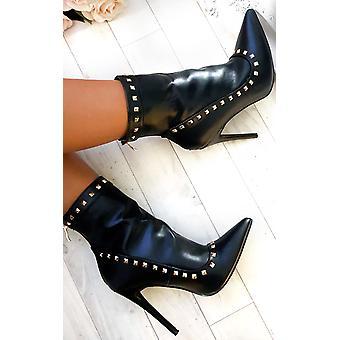 IKRUSH Womens Cheryl PU Studded Ankle Boots