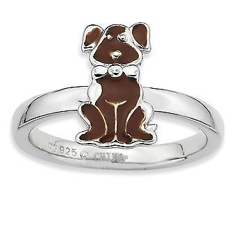 925 סטרלינג כסף מלוטש חום Enameled בעלי חיים כלב ערימה טבעת תכשיטים מתנות לנשים - גודל טבעת: 5 עד 10