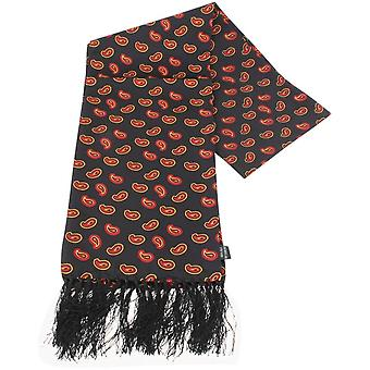 Knightsbridge cravates Paisley foulard en soie - noir/rouge