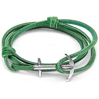 Anker og besætningen Admiral sølv og læder armbånd - Fern grøn