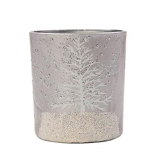 Puckator Winter Scene Tea Light Holder, Silver