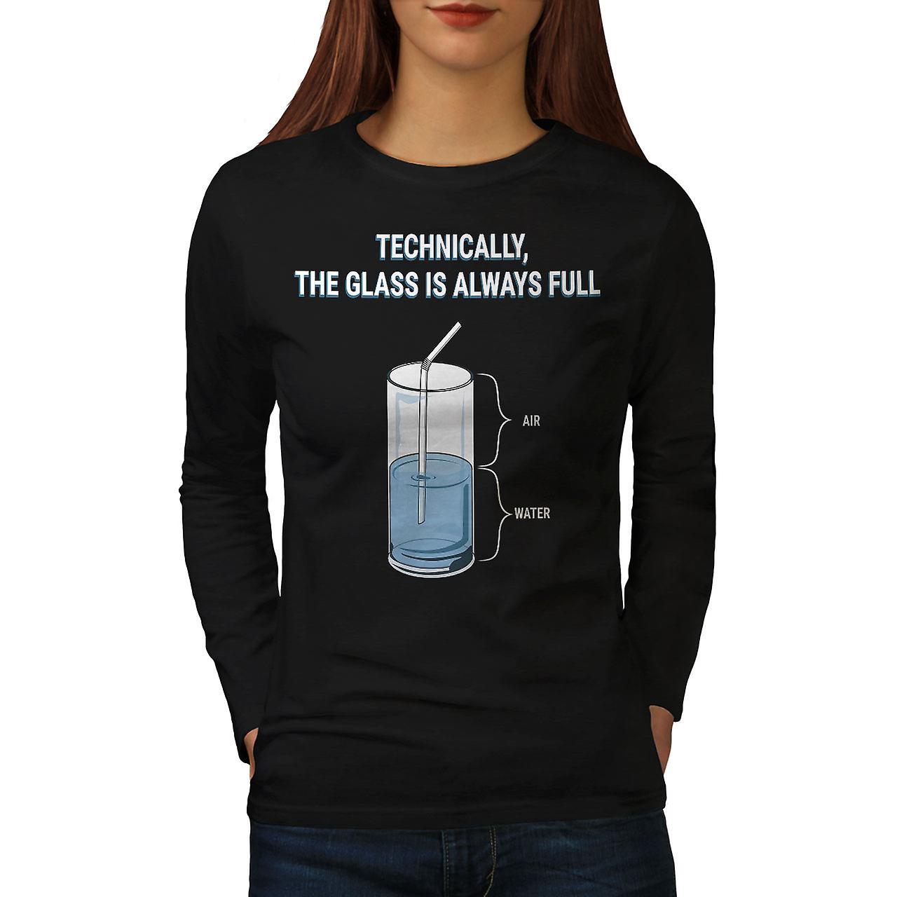 T-shirt manches Noirlong femmes toujours plein de verre | Wellcoda