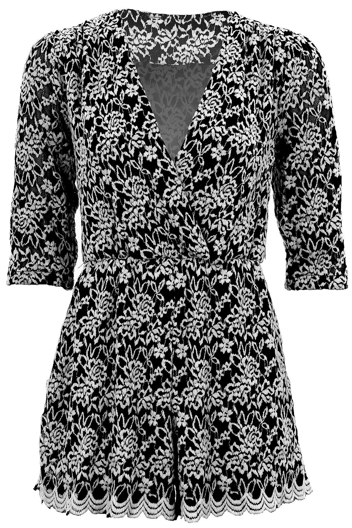 Ladies 3/4 Sleeve V Neck Wrap Floral Embroidered Lace Lined Women's Playsuit