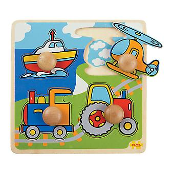 Bigjigs Toys Wooden My First Peg Puzzle (Transport) Chunky Educational Jigsaw