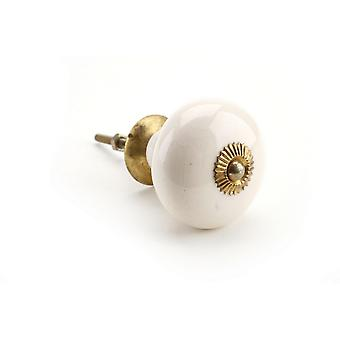 CGB Giftware Large White Round Ceramic Drawer Handle