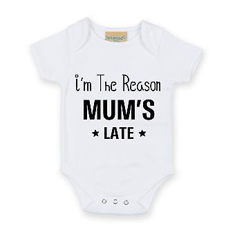 Jeg er derfor mors sene Hvid kortærmet Baby vokser
