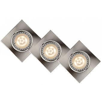 Lucide Focus Modern Square Aluminum Satin Chrome Recessed Spot Light