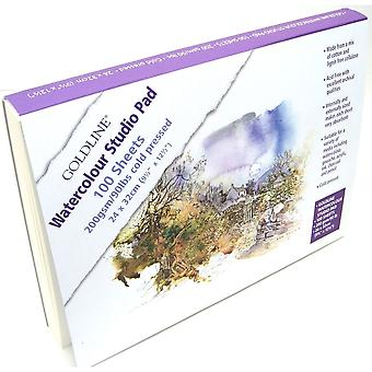 Clairefontaine Goldline Watercolour Studio Pad 100 Sheets 200gsm•
