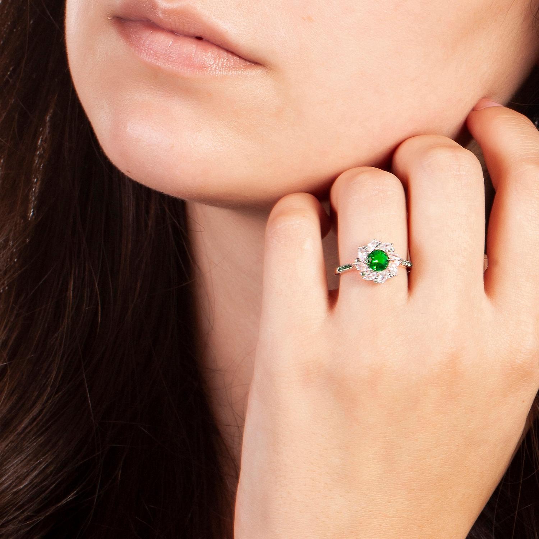 Bertha Juliet Collection Women's 18k WG Plated Green Flower Fashion Ring Size 8