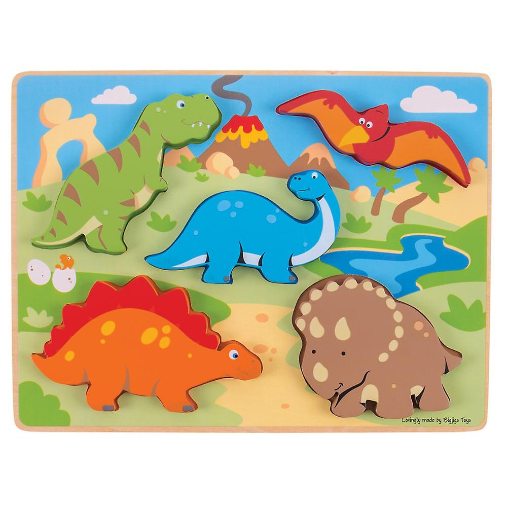 Bigjigs Toys Educational Chunky Wooden Lift Out Dinosaur Jigsaw Puzzle
